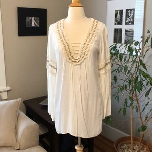 Judith March S Cream Tunic Dress Ric Rac Coverup